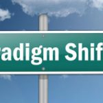 Road sign featuring the words 'paradigm shift'