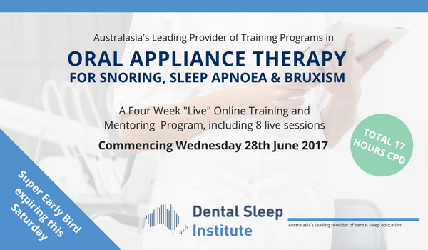 Oral Appliance Therapy for snoring, sleep apnoea and bruxism – reminder